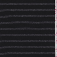 *2 YD PC--Black/Charcoal Stripe Thermal Knit