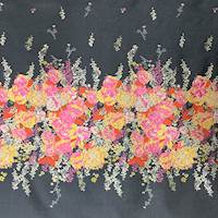*2 PANELS--Yellow/Pink/Silver Sparkle Floral Double Jacquard
