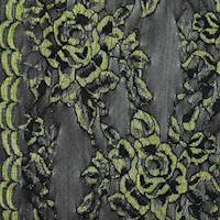 Antique Yellow/Black Rose Lace Mesh Knit