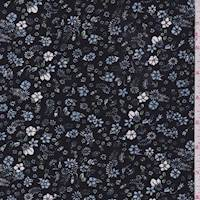 *2 YD PC--Black Mini Tossed Floral ITY Jersey Knit