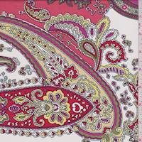 White/Salmon Paisley Cotton Challis