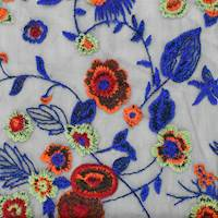 Blue/Orange/Multi Floral Embroidered Mesh