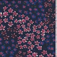 Navy Tossed Floral Crepe de Chine