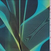 *2 3/8 YD PC--Turquoise Multi Metallic Prism Swimwear