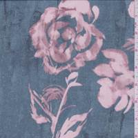 Sea Blue/Blush Rose Polyester Chiffon