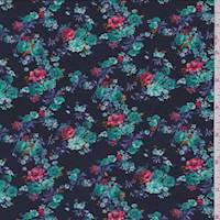 *2 1/8 YD PC--Navy Floral Cluster Jersey Knit