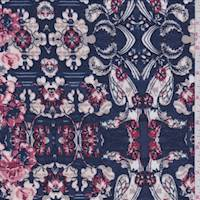 *4 YD PC--Dark Blue Baroque Floral ITY Jersey Knit