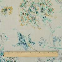 *5 YD PC--Mint/Beige/Multi P Kaufmann Floral Print Canvas Decor Fabric