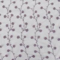 *4 3/4 YD PC--Mauve Purple/Metallic Silver Sparkle Floral Embroidered Mesh