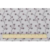 *4 3/4 YD PC--Mauve Purple/Metallic Silver Sparkle Floral Embroidered Mesh