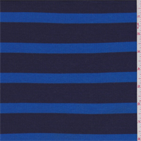 *2 3/8 YD PC--Larkspur/Navy Stripe Ribbed Jersey Knit