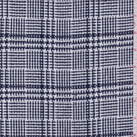*1 7/8 YD PC--Navy/White Plaid Textured Suiting