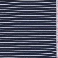 *3 YD PC--Navy/White Pinstripe Ribbed Jersey Knit