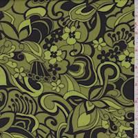 Chartreuse/Black Modern Floral Poplin