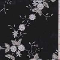 *3  YD PC--Black Floral Embroidered Velvet