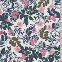 White/Spruce Garden Floral Chiffon