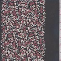 Black/Brick Floral Stripe Chiffon