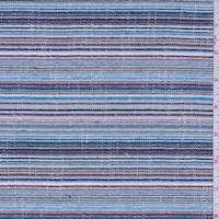 Tan/Blue Multi Stripe Woven Cotton