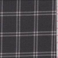 *2 5/8 YD PC--Smoke Charcoal Windowpane Check Suiting