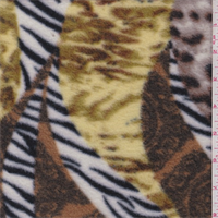 *2 YD PC-Black/White/Brown Animal Print Paisley Fleece