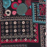 *3 5/8 YD PC--Black Multi Patchwork Print Rayon Faille