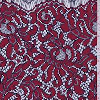 Red/Ink Scroll Lace
