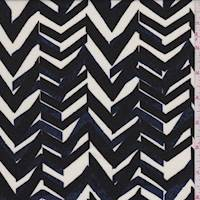 *1 YD PC--Ivory/Black/Blue Herringbone Stripe Rayon Challis