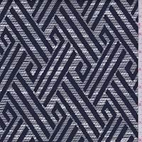 *2 3/8 YD PC--Navy/Pearl Diamond Jacquard Suiting