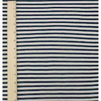 *5 YD PC--Navy Blue/Off White Stripe Double Knit