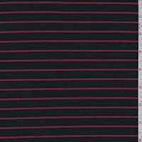 Black/Cherry Stripe Double Knit