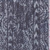 Dark Navy Paisley Stripe Chiffon