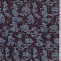 Burgundy/Aqua Jacquard Floral Quilted Satin
