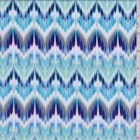 White/Violet Ikat Chevron Jersey Knit