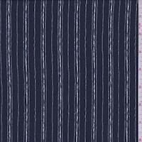 Dark Navy Sketch Pinstripe Crepe de Chine