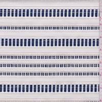 *1 1/4 YD PC--Ivory/Navy/Beige Embroidered Stripe Jacketing