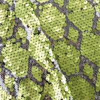 Peridot Green/Silver Diamond Sequin Mesh