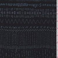 *3 YD PC--Dark Navy Stitch Print Jersey Knit