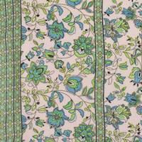 Peach/Green/Multi Rayon Floral Print Challis