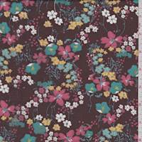Coffee Brown Multi Floral Print Voile