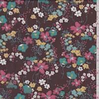 Coffee Brown Multi Floral Print Voile