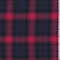 *2 7/8 YD PC--Red/Slate Blackwatch Check Rayon Challis