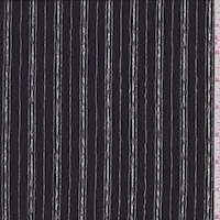 Black/White Sketch Stripe Crepe De Chine