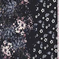 Black Multi Floral Stripe Crepe De Chine