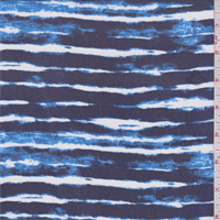 *3 YD PC--Navy/Aqua Stripe Print Chiffon