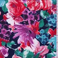 Dark Blue Floral Textured Liverpool Knit