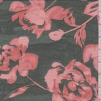 Dark Algae/Salmon Floral Chiffon