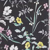 Black Iris Floral Crinkle Chiffon
