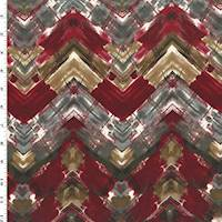 *1 YD PC--Garnet Red/Gray/Multi Abstract Chevron Print Faille