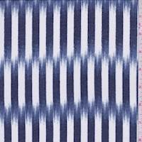 Dark Blue/White Brush Stroke Stripe Georgette
