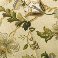 *3 1/4  YD PC - Multi P/Kaufmann Linen Floral Print Home Decorating Fabric